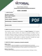 Plano de Ensino. Português. Gramática. Vetorial 2019.1