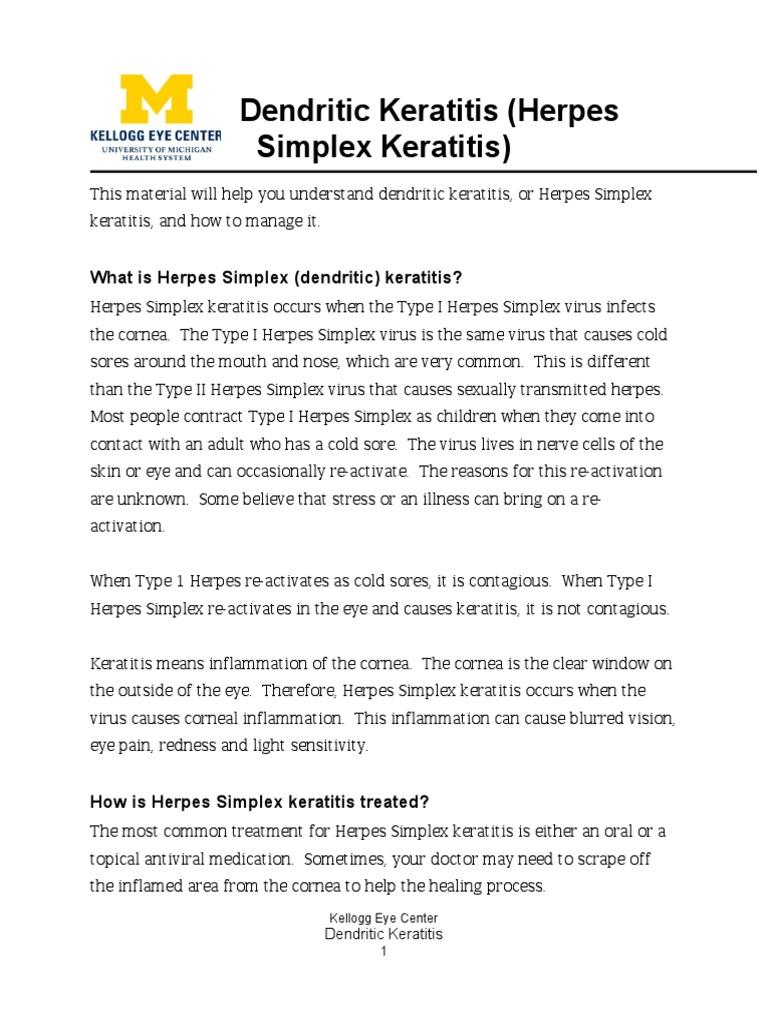 Dendritic keratitis   Herpes Simplex   Public Health