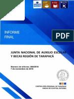 INFORME FINAL N° 509-18 EN LA  JUNTA NACIONAL DE AUXILIO ESCOLAR Y BECAS TARAPACÁ SOBRE PROGRAMA DE ALIMENTACION ESCOLAR - NOVIEMBRE 2018.pdf