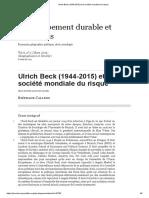 Sobre Beck - (1944-2015) Et La Société Mondiale Du Risque