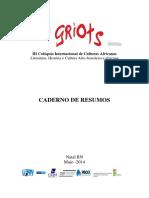 Caderno de Resumos Do GRIOTS 2014