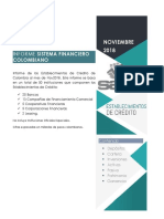 Informe Establecimientos de Crédito de Colombia Noviembre 2018
