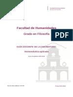 Guia Docente 269101103 - Hermeneutica Aplicada - Curso 1516