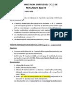Inscripciones Para Cursos Del Ciclo de Nivelacion 2018-III