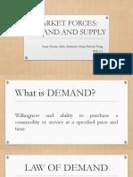 Makret Force. Demand and Supply Group 1 BSA 1 2