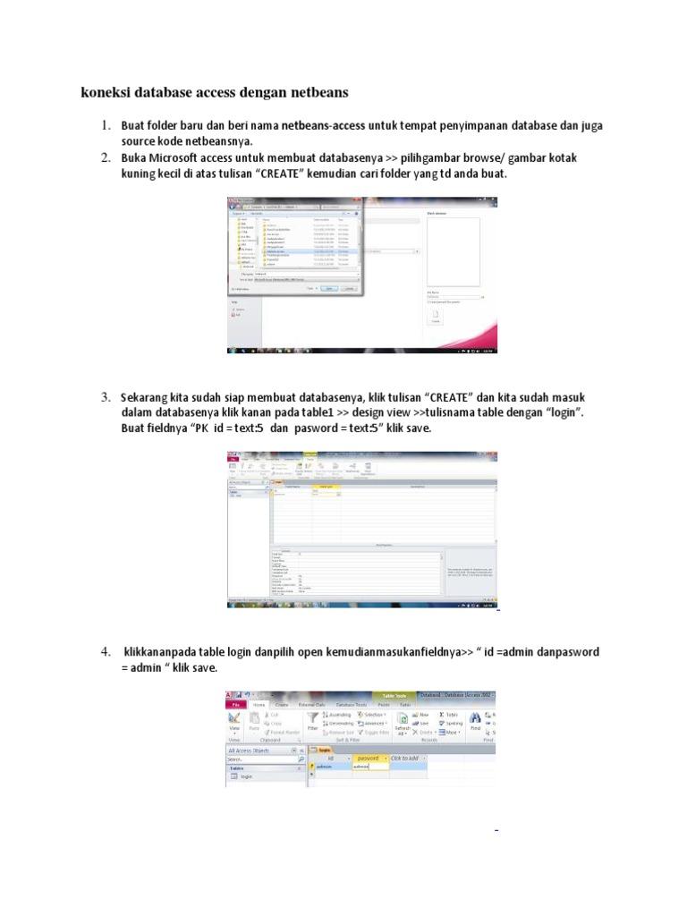 Koneksi Database Access Dengan Netbeans