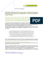 European Industrial Hemp Association asked by European Commission to advise on traditional or novel food status of hemp extracts.