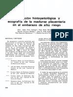 Correlación histopatológica del la madurez placentaria en el embarazo de alto riesgo