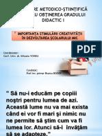 Importanța Stimulării Creativității În Dezvoltarea Școlarului Mic