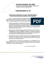 COMUNICADO PNP N° 02 - 2019