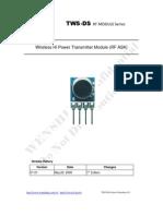 TWS-DS-3 433.92MHz Miniaturization Wireless Transmitter Module Data Sheet
