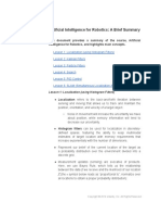 Artificial Intelligence Brief Course Summary