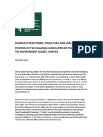 HYDRAULIC FRACTURING, FOSSIL FUELS AND HEALTH RISKS - POSITION OF THE CANADIAN ASSOCIATION OF PHYSICIANS FOR THE ENVIRONMENT QUEBEC CHAPTER