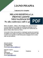 MILANO RESPINGA LA PROVOCAZIONE NEO NAZIFASCISTA