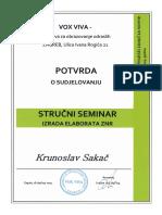 POTVRDA • Stručni seminar izrada elaborata zaštite na radu (ZNR)