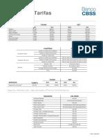 Tabela de Tarifas BancoCBSS v9