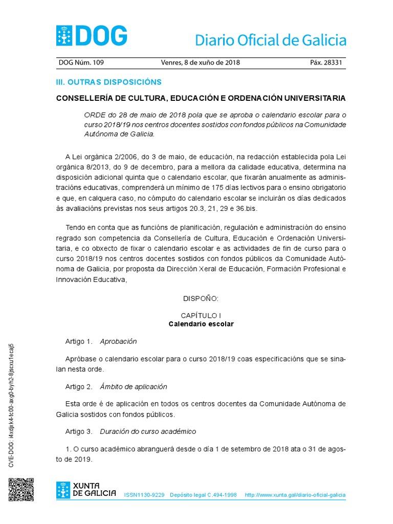 Calendario Escolar Xunta.Calendario Escolar 2018 19 Orde 28 Maio 2018