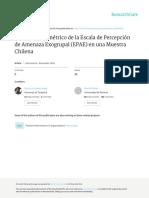 ANÁLISIS PSICOMÉTRICO DE LA ESCALA DE PERCEPCIÓN DE AMENAZA EXOGRUPAL (EPAE) EN UNA MUESTRA CHILENA - Carmona y Navas
