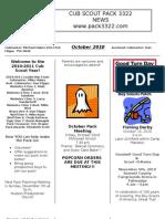 Pack 3322 October 2010 Newsletter