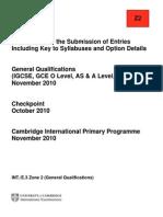 2010 Cambridge CIE November Entries Booklet