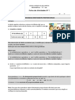 FT1 Proprcionalidade Direta 9ºano