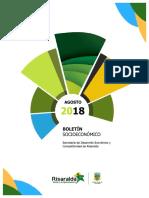 Boletin Socioeconómico de la Gobernación de Risaralda Agosto de 2018