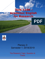 Plenary 3- The Research Question Thesis