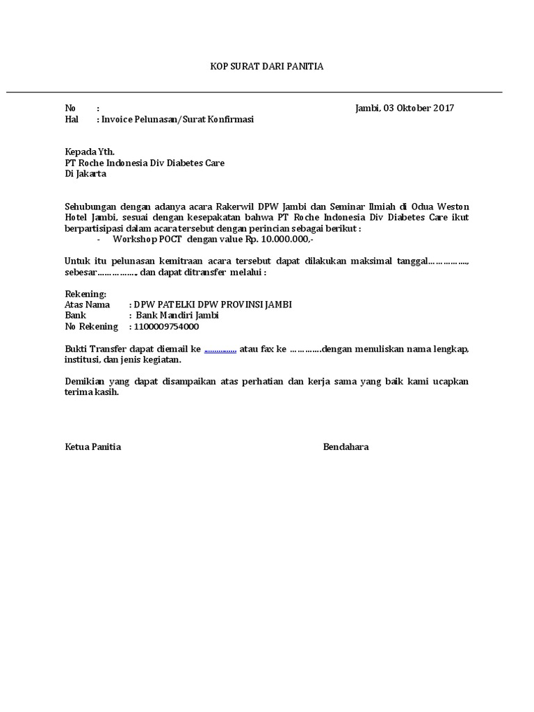 Confirmation Letter Invoice Contoh