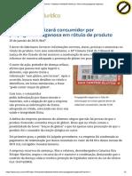 ConJur - Empresa Indenizará Cliente Por Rótulo Com Propaganda Enganosa