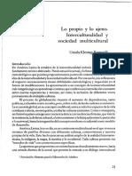 Lo Propio y Lo Ajeno y La Interculturalidad