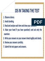 Standards in Taking the Test