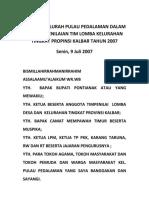 Sambutan Lurah Pulau Pedalaman Dalam Rangka Penilaian Tim Lomba Kelurahan Tingkat Propinsi Kalbar