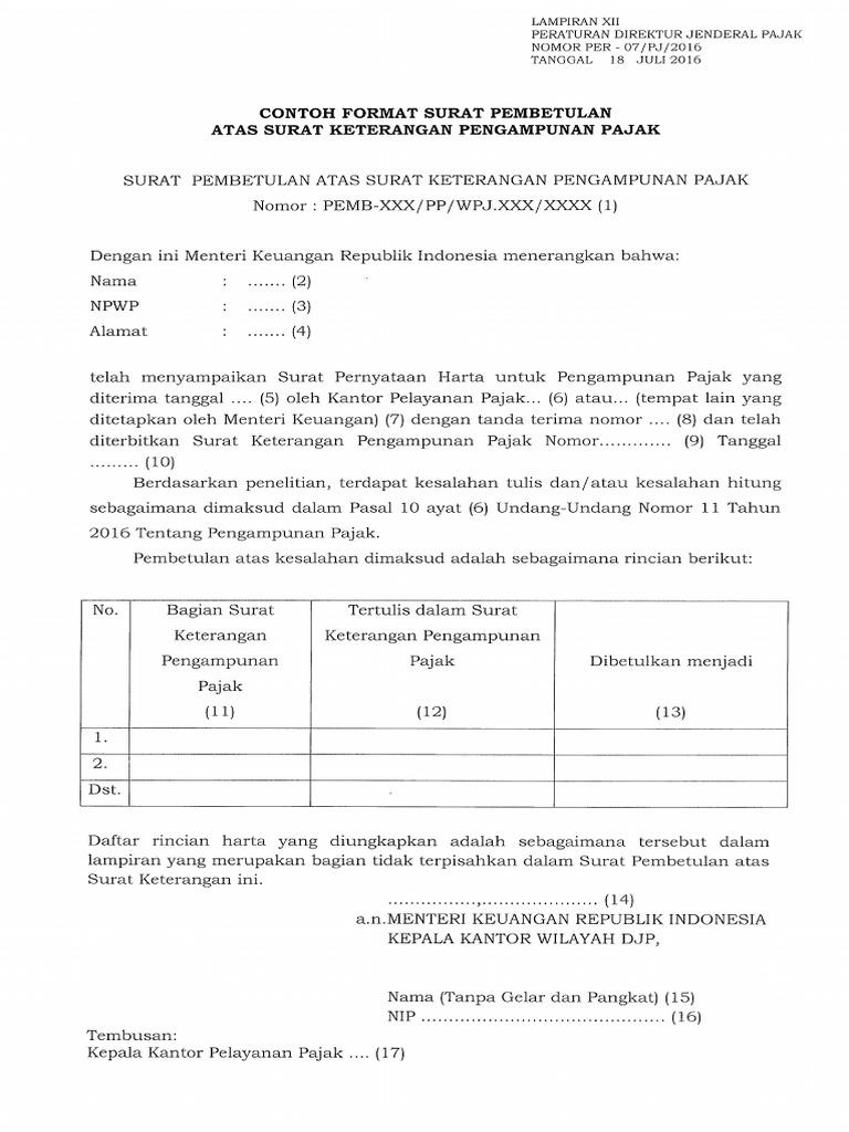 Surat Pernyataan Harta Untuk Pengampunan Pajak Xls ...