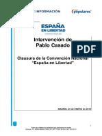 Intervención de Pablo Casado en la clausura de la Convención Nacional del PP