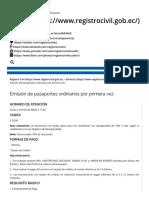 Emisión de Pasaportes Ordinarios Por Primera Vez – Registro Civil
