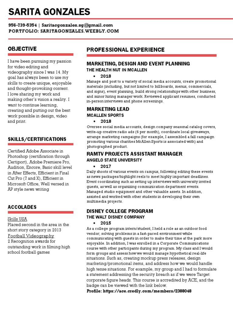 resume for sarita gonzales   Mass Media   Communication