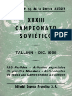 Ajedrez - XXXIII Campeonato Sovietico. Tallinn, Dic. 1965. 120 Partidas. Suplemento Nro.16