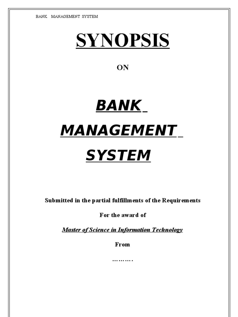 Bank Management System v b Synopsis | Microsoft Access | Information