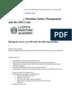 Lloyd ISM Learning Modules 2019