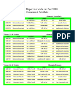 Cronograma de Actividades Festival Deportivo 2010 Exc