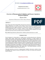 Overview of Pharmaceutical Validation and Process Controls Indrug Development