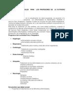 INDICACIONES GENERALES  PARA  LOS PROFESORES DE  LA ACTIVIDAD FÍSICA TERAPÉUTICA