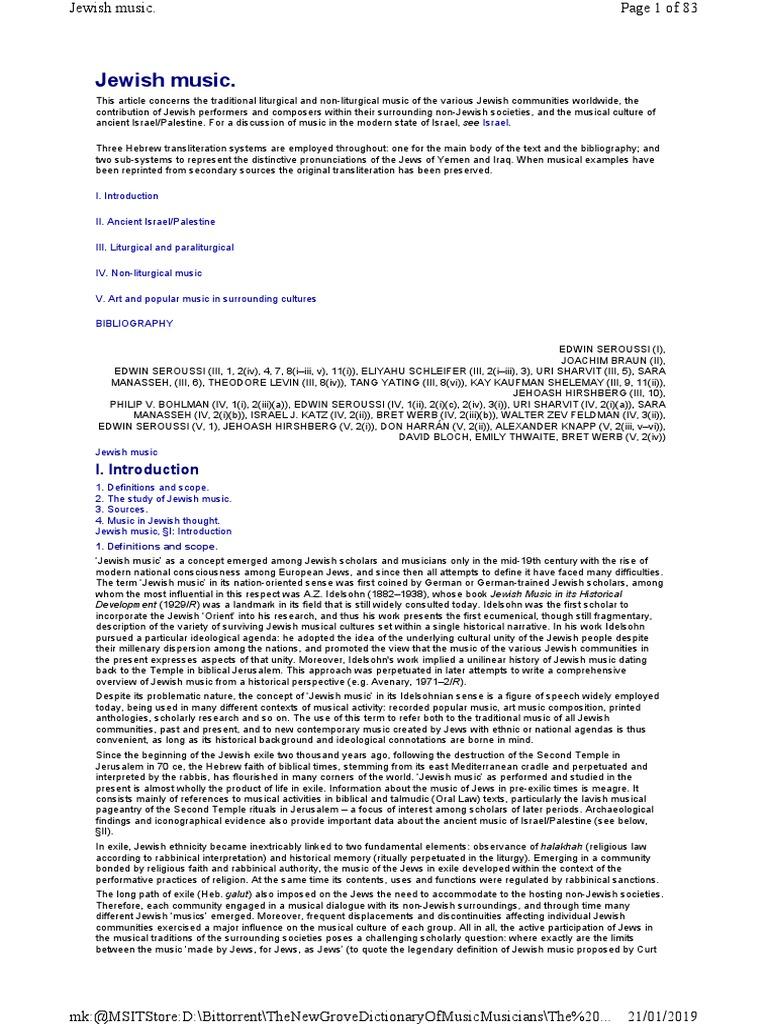 660dd781e Jewish music.pdf | Jews | Canaan