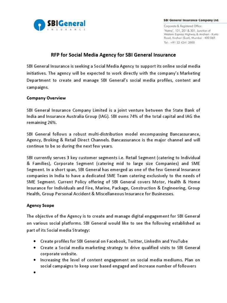 SBI General RFP Social Media Agency | Digital & Social Media