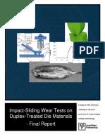 As-P Impact-Sliding Wear Tests on Duplex-Treated Dies