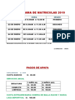 Cronograma de Matriculas 2019