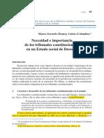 Marco Gerardo Monroy Cabra. Necesidad e Importancia de Los Tribunales Constitucionales en Un Estado Social