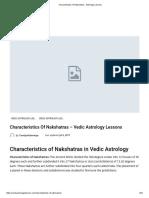Characteristics of Nakshatras - Astrology Lessons