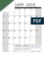 2019 Calendar Portrait