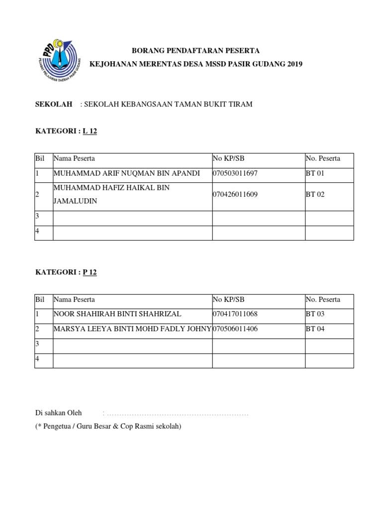 Borang Pendaftaran Peserta Kejohanan Merentas Desa Mssd Pasir
